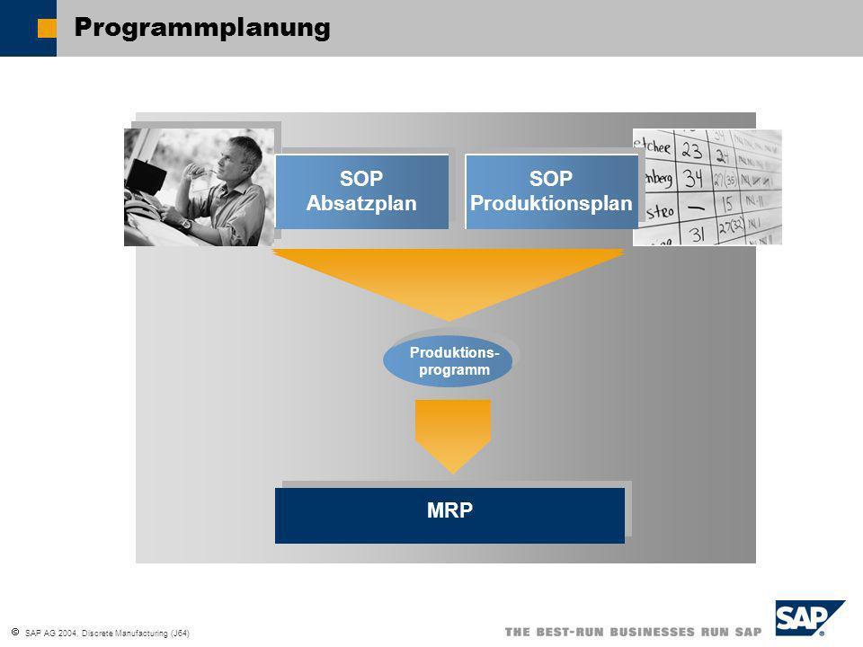 SAP AG 2004, Discrete Manufacturing (J64) Produktions- programm Programmplanung MRP SOP Absatzplan SOP Produktionsplan