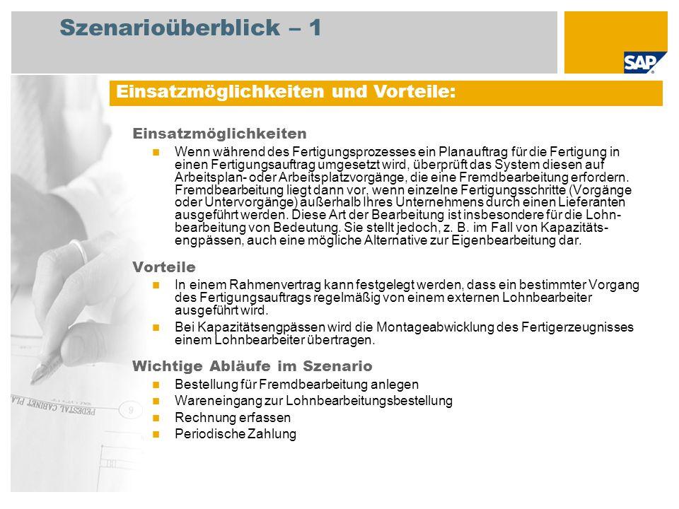 Szenarioüberblick – 2 Erforderlich SAP enhancement package 4 for SAP ERP 6.0 An den Abläufen beteiligte Benutzerrollen Fertigungssteuerer Lagermitarbeiter Einkaufer Kreditorenbuchhalter Erforderliche SAP-Anwendungen:
