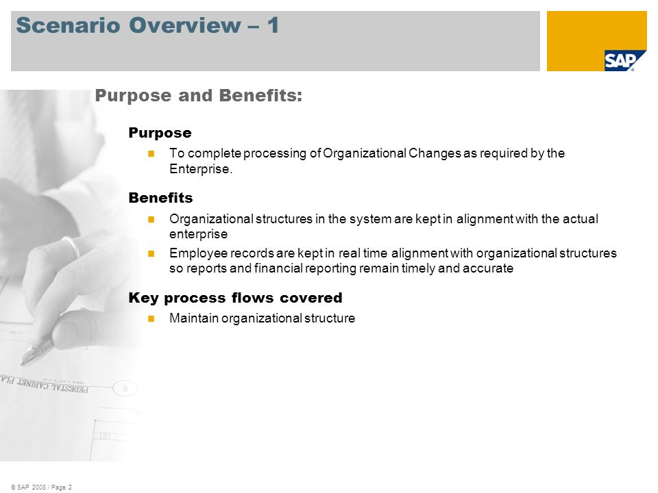 © SAP 2008 / Page 3 Scenario Overview – 2 Required SAP Enhancement Package 3 for SAP ERP 6.0 Enterprise roles involved in process flows Manager HR Administrator Personnel Administrator SAP Applications Required: