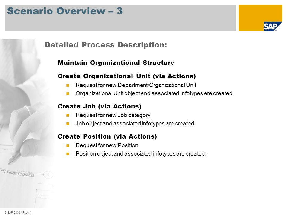 © SAP 2008 / Page 5 Scenario Overview – 4 Maintain Organizational Structure, cont d Create/Maintain Organizational Unit (Expert Mode) Request for new Department/Organizational Unit Organizational Unit object is created.