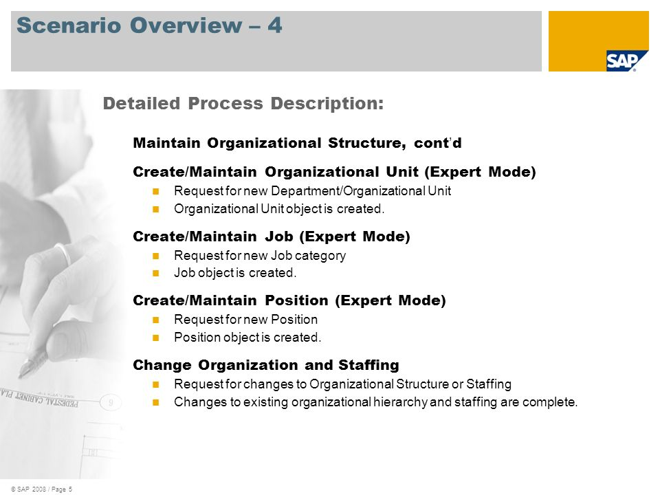 © SAP 2008 / Page 5 Scenario Overview – 4 Maintain Organizational Structure, cont d Create/Maintain Organizational Unit (Expert Mode) Request for new