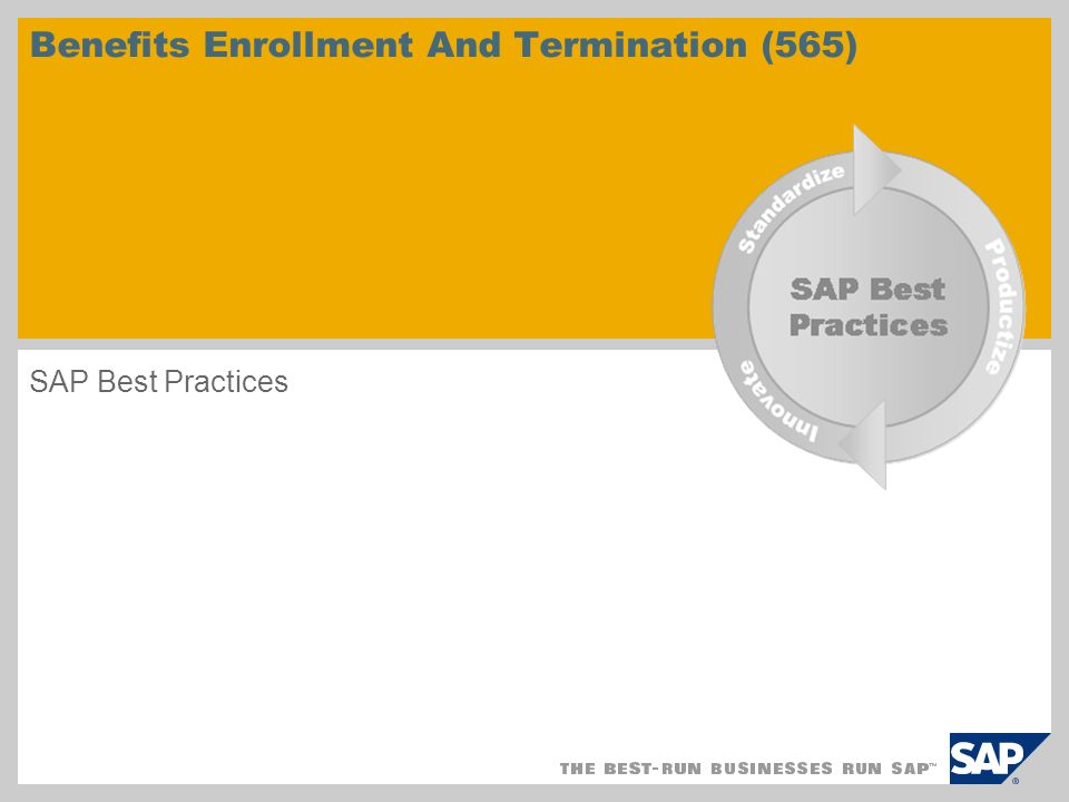 Benefits Enrollment And Termination (565) SAP Best Practices