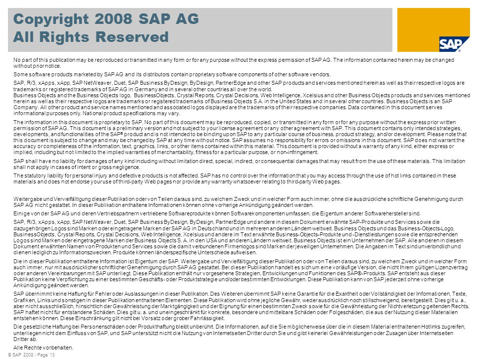 © SAP 2008 / Page 13 Copyright 2008 SAP AG All Rights Reserved No part of this publication may be reproduced or transmitted in any form or for any pur