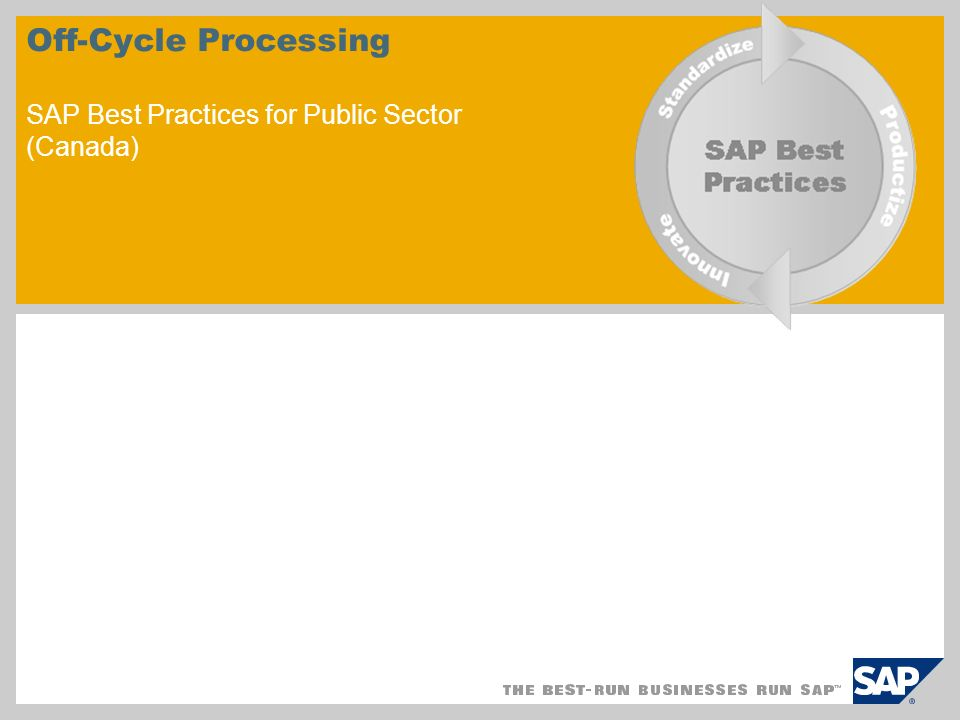 © SAP 2008 / Page 2 Scenario Overview – 1 Purpose To complete processing of employee Off-cycle Payroll Run payroll for payments including bonuses and other one-time payments, advance payments (multiple pay periods), and absence payments (days within a payroll period) Execute a correction payroll when changes have been made to an employee s master data Process payroll data for a check that was manually created outside of the system View an employee s payroll history Replace payments Reverse payments Adjust T4 data of individual employee during the year end process Benefits Ability to reissue, void, or create payments in a single workbench Automated, efficient processing with complete history of employees payroll Key process flows covered Reversal / Void Check Replacement Purpose and Benefits: