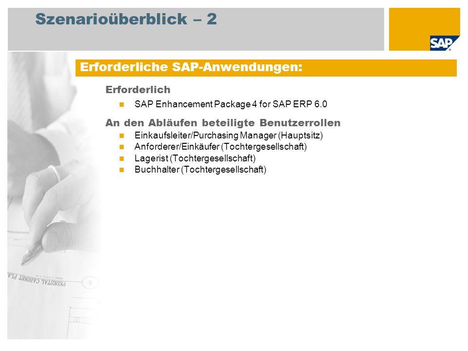 Szenarioüberblick – 2 Erforderlich SAP Enhancement Package 4 for SAP ERP 6.0 An den Abläufen beteiligte Benutzerrollen Einkaufsleiter/Purchasing Manager (Hauptsitz) Anforderer/Einkäufer (Tochtergesellschaft) Lagerist (Tochtergesellschaft) Buchhalter (Tochtergesellschaft) Erforderliche SAP-Anwendungen: