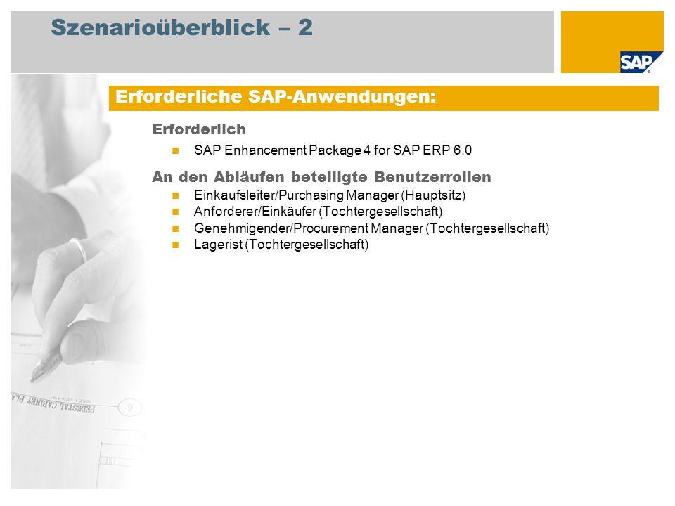 Szenarioüberblick – 2 Erforderlich SAP Enhancement Package 4 for SAP ERP 6.0 An den Abläufen beteiligte Benutzerrollen Einkaufsleiter/Purchasing Manager (Hauptsitz) Anforderer/Einkäufer (Tochtergesellschaft) Genehmigender/Procurement Manager (Tochtergesellschaft) Lagerist (Tochtergesellschaft) Erforderliche SAP-Anwendungen:
