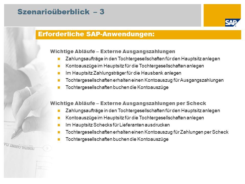 Erforderliche SAP-Anwendungen: Wichtige Abläufe – Externe Ausgangszahlungen Zahlungsaufträge in den Tochtergesellschaften für den Hauptsitz anlegen Ko