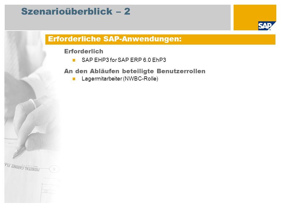Szenarioüberblick – 2 Erforderlich SAP EHP3 for SAP ERP 6.0 EhP3 An den Abläufen beteiligte Benutzerrollen Lagermitarbeiter (NWBC-Rolle) Erforderliche
