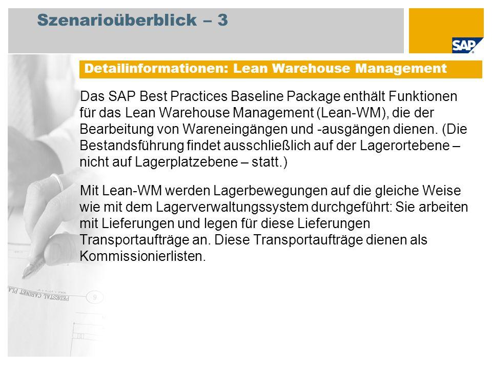 Szenarioüberblick – 3 Das SAP Best Practices Baseline Package enthält Funktionen für das Lean Warehouse Management (Lean-WM), die der Bearbeitung von