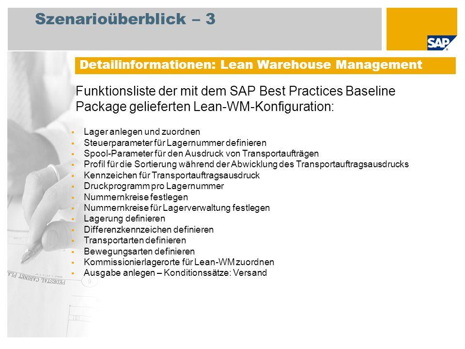 Szenarioüberblick – 3 Funktionsliste der mit dem SAP Best Practices Baseline Package gelieferten Lean-WM-Konfiguration: Detailinformationen: Lean Ware