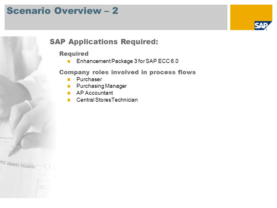 Scenario Overview – 2 Required Enhancement Package 3 for SAP ECC 6.0 Company roles involved in process flows Purchaser Purchasing Manager AP Accountan
