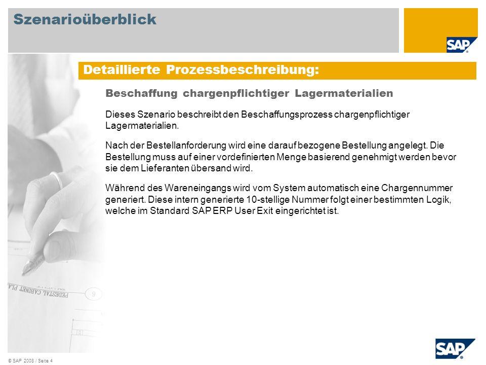 © SAP 2008 / Seite 4 Beschaffung chargenpflichtiger Lagermaterialien Dieses Szenario beschreibt den Beschaffungsprozess chargenpflichtiger Lagermateri