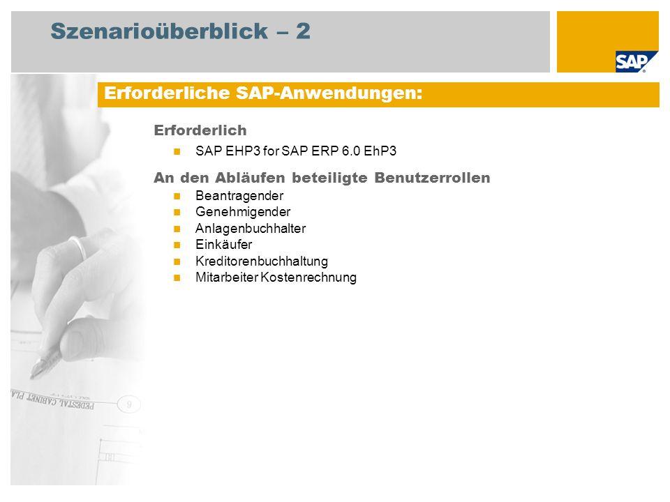 Szenarioüberblick – 2 Erforderlich SAP EHP3 for SAP ERP 6.0 EhP3 An den Abläufen beteiligte Benutzerrollen Beantragender Genehmigender Anlagenbuchhalt