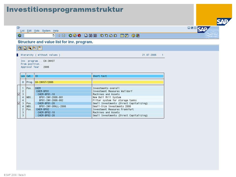 © SAP 2008 / Seite 9 Investitionsprogrammstruktur