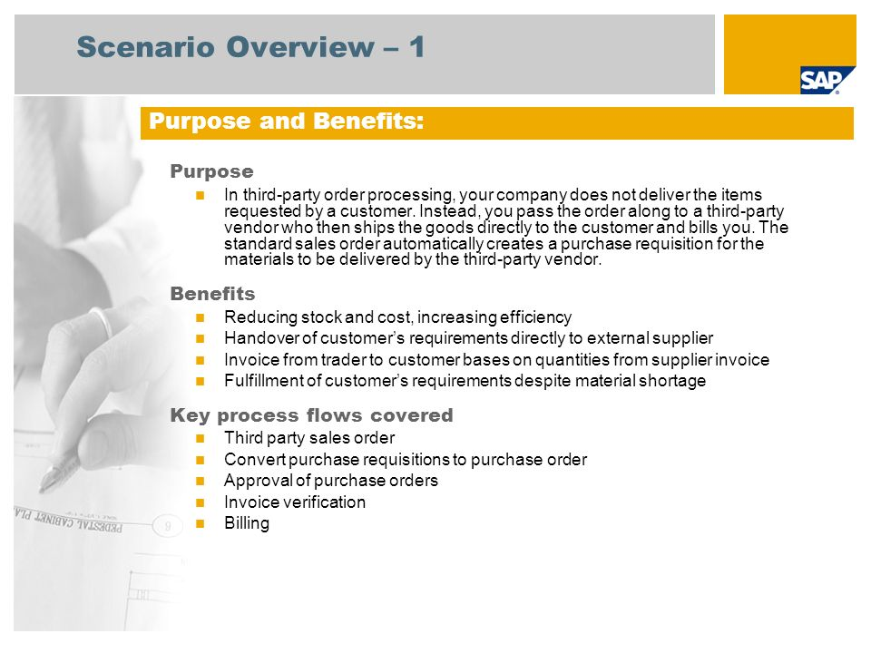 Scenario Overview – 2 Required SAP enhancement package 3 for SAP ERP 6.0 Company roles involved in process flows Sales Administration Buyer Purchasing Manager Accounts Payable Accounts Receivable SAP Applications Required: