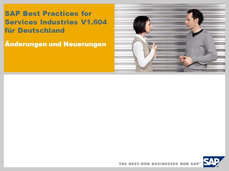 © SAP 2009 / Seite 12 SAP Best Practices for Services Industries SAP-ERP-Berichte Vorteile der in Best Practices for Services Industries verwendeten Berichte: Das SAP Best Practices for Services Industries Paket stellt Informationen zu den verschiedenen Berichten der Bereiche Rechnungswesen und Logistik zur Verfügung, die zur Überwachung und Steuerung Ihrer Geschäftsprozesse eingesetzt werden können.