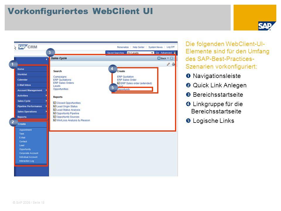 © SAP 2009 / Seite 18 Vorkonfiguriertes WebClient UI Die folgenden WebClient-UI- Elemente sind für den Umfang des SAP-Best-Practices- Szenarien vorkon