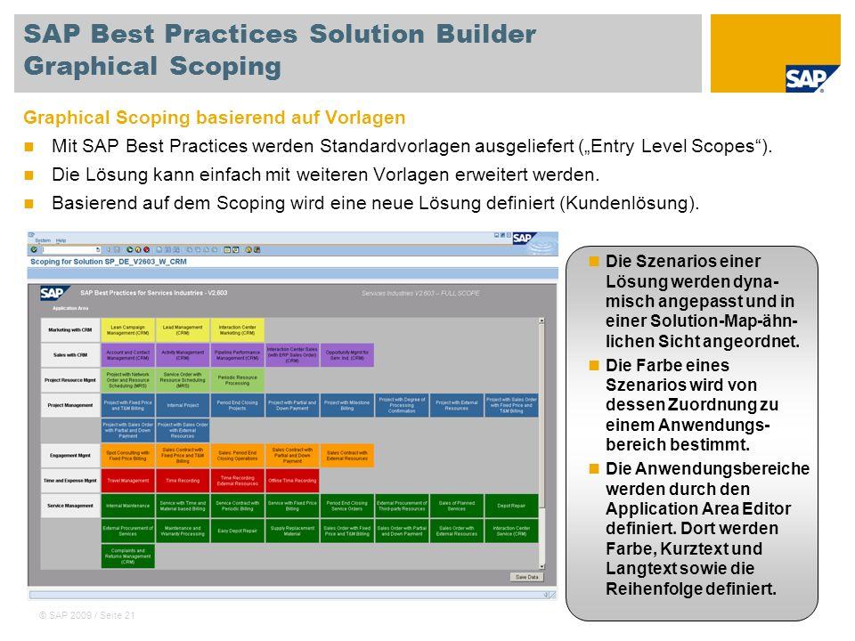 © SAP 2009 / Seite 21 SAP Best Practices Solution Builder Graphical Scoping Graphical Scoping basierend auf Vorlagen Mit SAP Best Practices werden Sta
