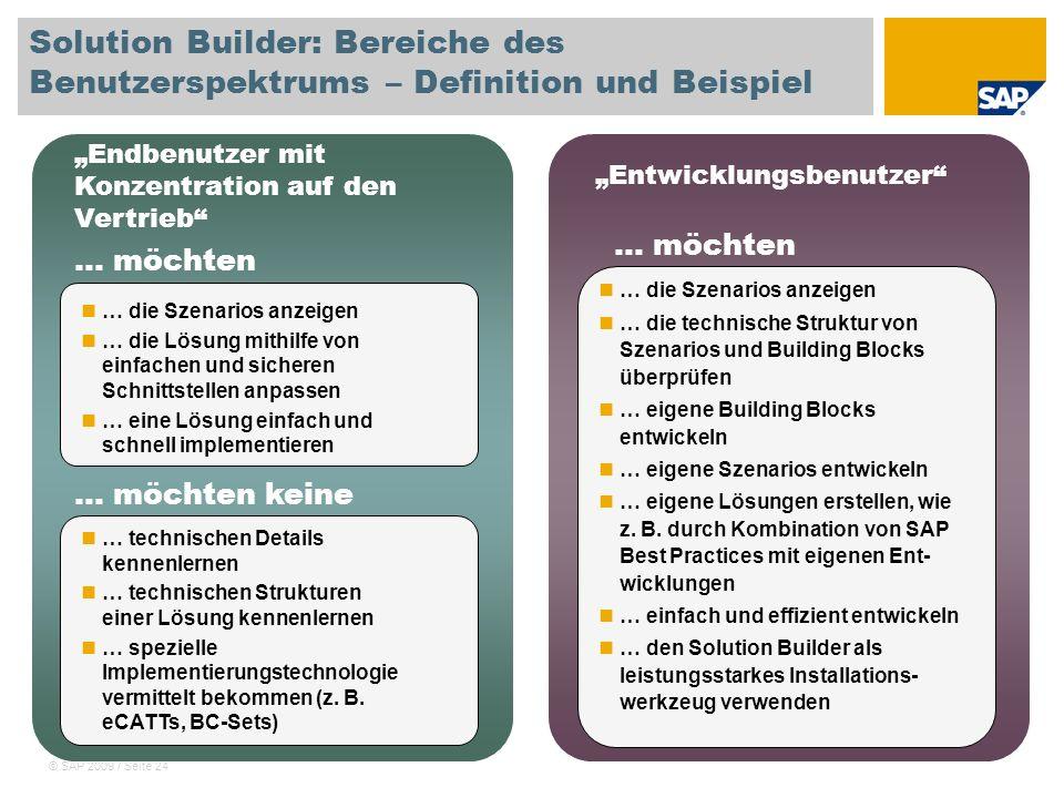© SAP 2009 / Seite 24 Solution Builder: Bereiche des Benutzerspektrums – Definition und Beispiel Endbenutzer mit Konzentration auf den Vertrieb Entwic