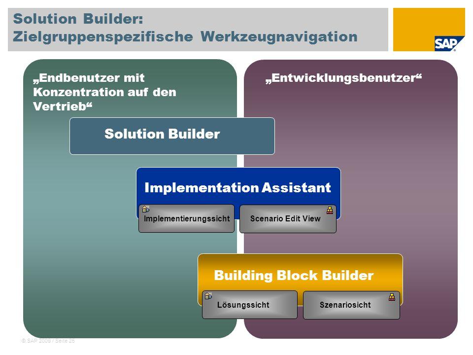 © SAP 2009 / Seite 25 Solution Builder: Zielgruppenspezifische Werkzeugnavigation Endbenutzer mit Konzentration auf den Vertrieb Entwicklungsbenutzer