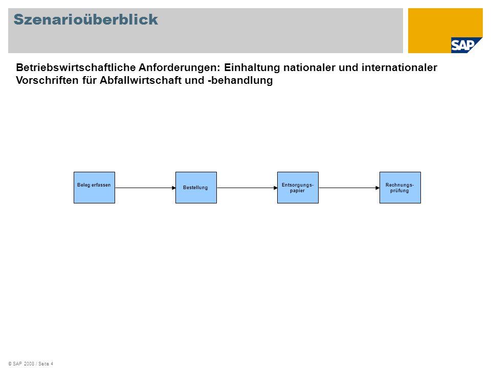 © SAP 2008 / Seite 4 Szenarioüberblick Beleg erfassen Bestellung Entsorgungs- papier Rechnungs- prüfung Betriebswirtschaftliche Anforderungen: Einhalt