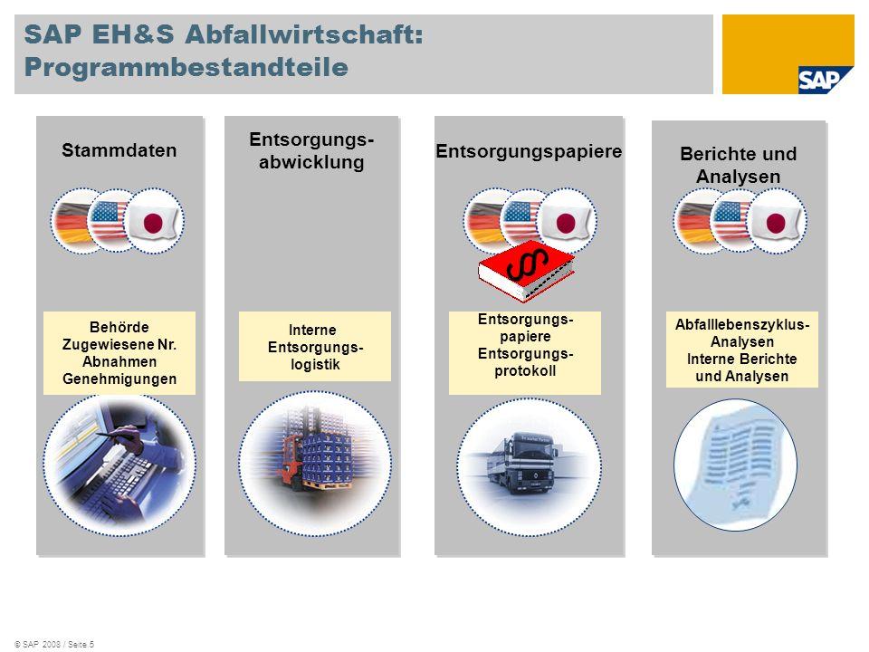 © SAP 2008 / Seite 5 Stammdaten Entsorgungs- abwicklung Entsorgungspapiere Berichte und Analysen § Behörde Zugewiesene Nr. Abnahmen Genehmigungen Ents
