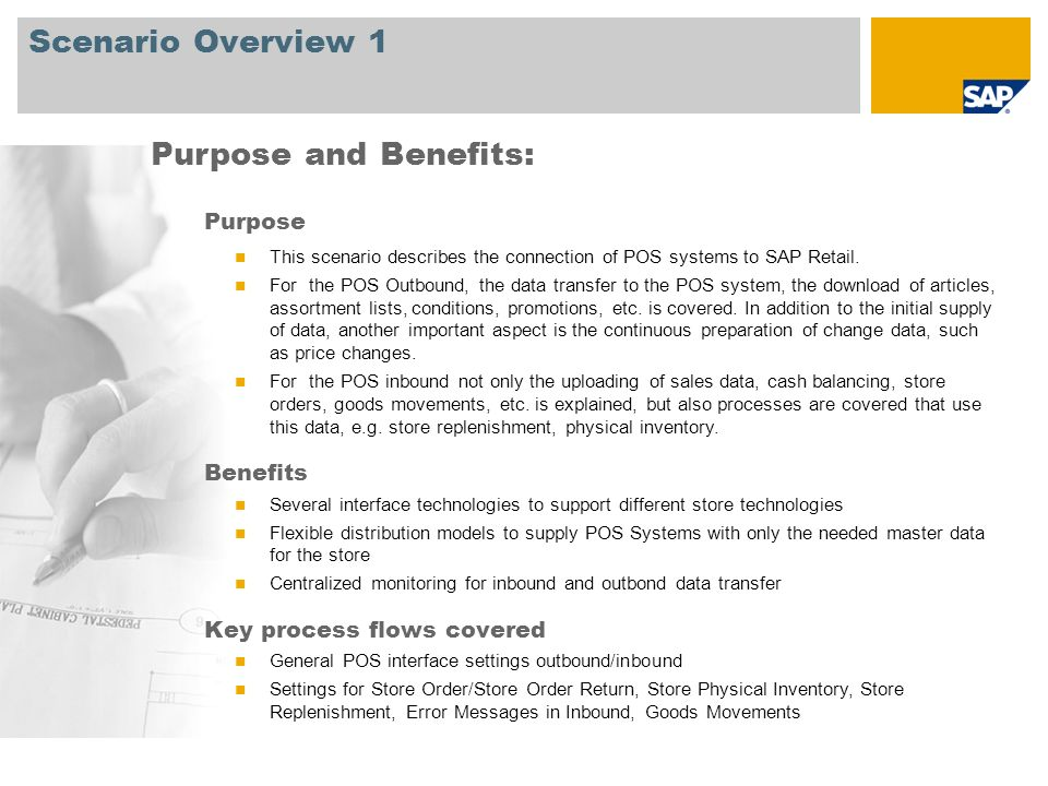 Scenario Overview 2 Required SAP EHP3 for SAP ERP 6.0 Company roles involved in process flows Retail Masterdata Manager Retail Store Manager Retail Pricing Manager Accounts Payable Assistant General Ledger Retail Replenishment Planner Retail Sales Person SAP Applications Required: