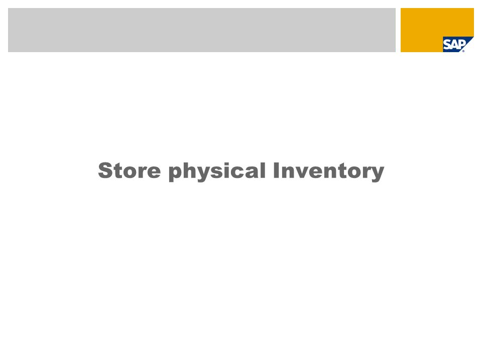 Store physical Inventory