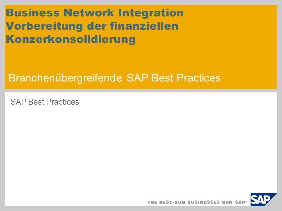 Business Network Integration Vorbereitung der finanziellen Konzerkonsolidierung Branchenübergreifende SAP Best Practices SAP Best Practices