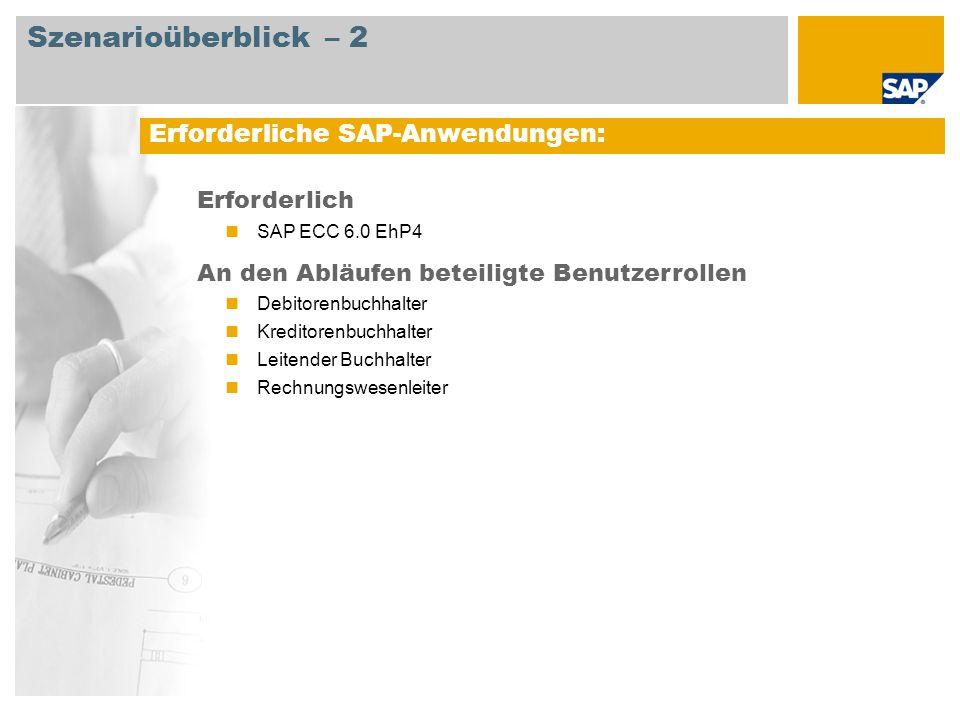 Erforderliche SAP-Anwendungen: Erforderlich SAP ECC 6.0 EhP4 An den Abläufen beteiligte Benutzerrollen Debitorenbuchhalter Kreditorenbuchhalter Leiten