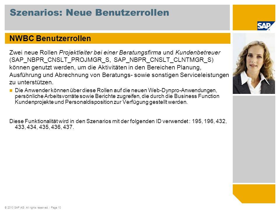 ©2010 SAP AG. All rights reserved. / Page 10 Szenarios: Neue Benutzerrollen NWBC Benutzerrollen Zwei neue Rollen Projektleiter bei einer Beratungsfirm