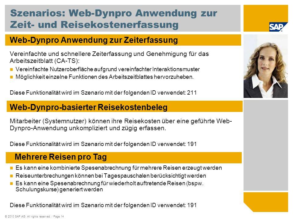 ©2010 SAP AG. All rights reserved. / Page 14 Szenarios: Web-Dynpro Anwendung zur Zeit- und Reisekostenerfassung Web-Dynpro Anwendung zur Zeiterfassung