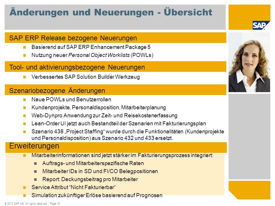 ©2010 SAP AG. All rights reserved. / Page 16 Änderungen und Neuerungen - Übersicht SAP ERP Release bezogene Neuerungen Basierend auf SAP ERP Enhanceme