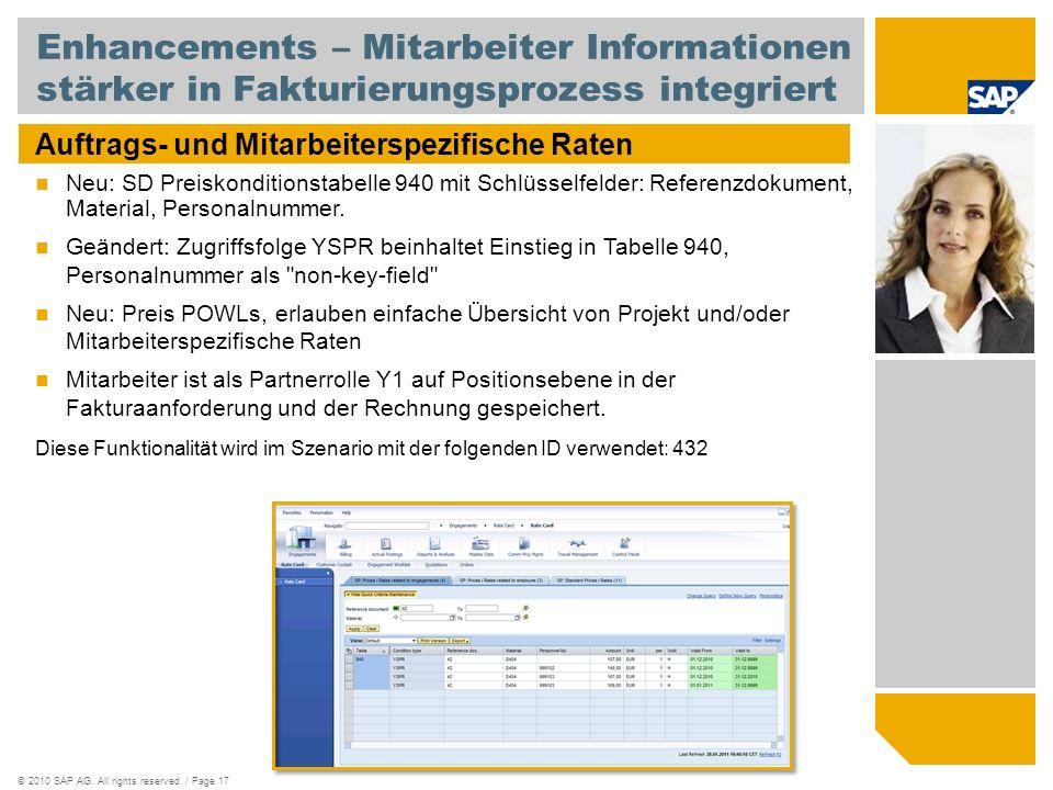 ©2010 SAP AG. All rights reserved. / Page 17 Enhancements – Mitarbeiter Informationen stärker in Fakturierungsprozess integriert Auftrags- und Mitarbe