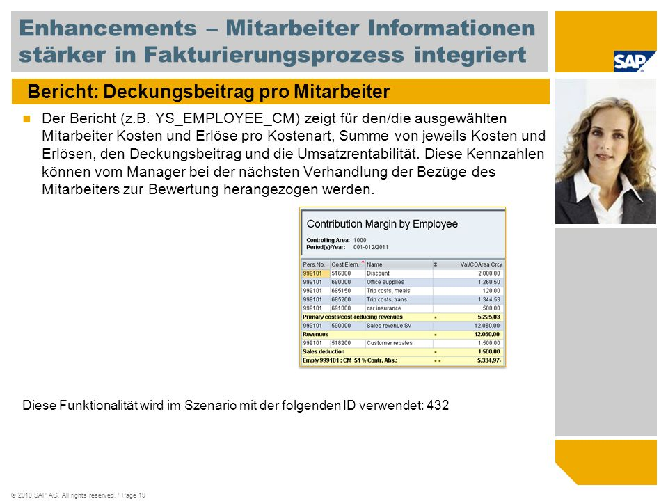 ©2010 SAP AG. All rights reserved. / Page 19 Bericht: Deckungsbeitrag pro Mitarbeiter Der Bericht (z.B. YS_EMPLOYEE_CM) zeigt für den/die ausgewählten
