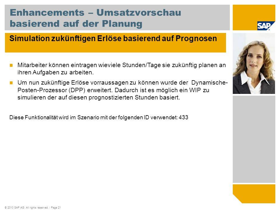 ©2010 SAP AG. All rights reserved. / Page 21 Enhancements – Umsatzvorschau basierend auf der Planung Simulation zukünftigen Erlöse basierend auf Progn