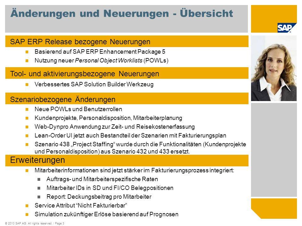 ©2010 SAP AG. All rights reserved. / Page 3 Änderungen und Neuerungen - Übersicht SAP ERP Release bezogene Neuerungen Basierend auf SAP ERP Enhancemen