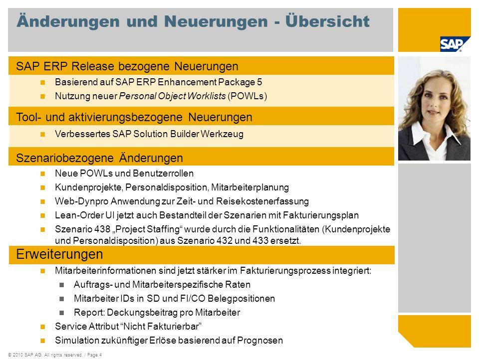 © SAP 2008 / Page 5 SAP Best Practices basierend auf SAP ERP Enhancement Package 5 Grundlage SAP Enhancement Packages stellen Delta-Auslieferungen für SAP ERP 6.0 dar Selektive Installation Jedes SAP Enhancement Package enthält neue Versionen existierender Softwarekomponenten Nach der Installation: Kein User Interface oder Prozessänderung falls keine Business Function aktiviert wird Keine Auswirkungen auf die zugrundeliegende SAP NetWeaver Plattform, jedoch benötigen SAP Enhancement Packages bestimmte ERP support package stacks Selektive Aktivierung Neue Funktionalität muss explizit angeschaltet werden um im System aktiviert zu werden.
