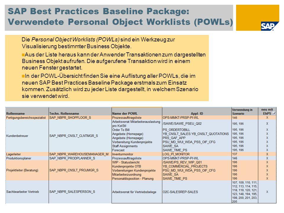 SAP Best Practices Baseline Package: Verwendete Personal Object Worklists (POWLs) Die Personal Object Worklists (POWLs) sind ein Werkzeug zur Visualis