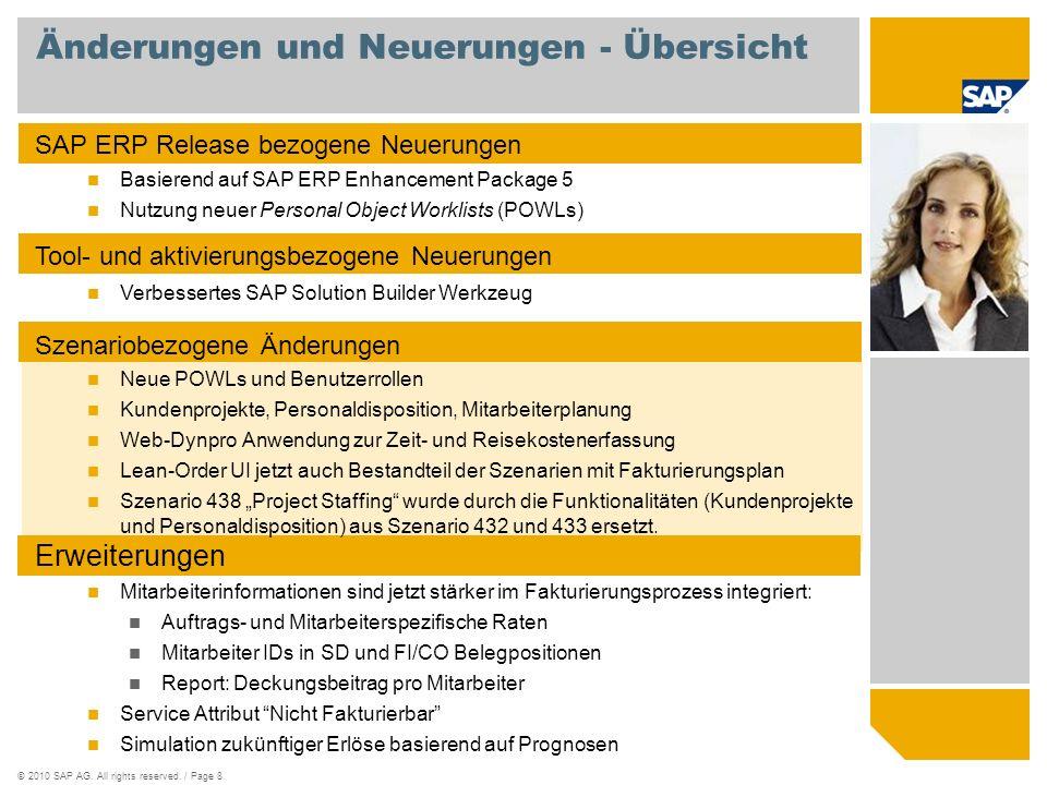 ©2010 SAP AG. All rights reserved. / Page 8 Änderungen und Neuerungen - Übersicht SAP ERP Release bezogene Neuerungen Basierend auf SAP ERP Enhancemen
