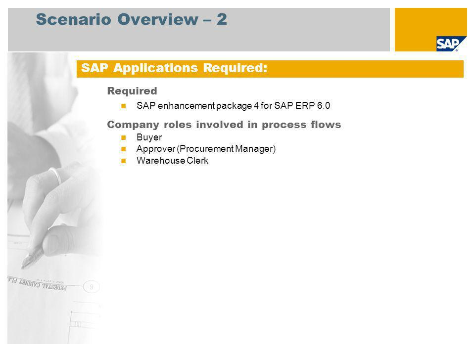 Scenario Overview – 2 Required SAP enhancement package 4 for SAP ERP 6.0 Company roles involved in process flows Buyer Approver (Procurement Manager)