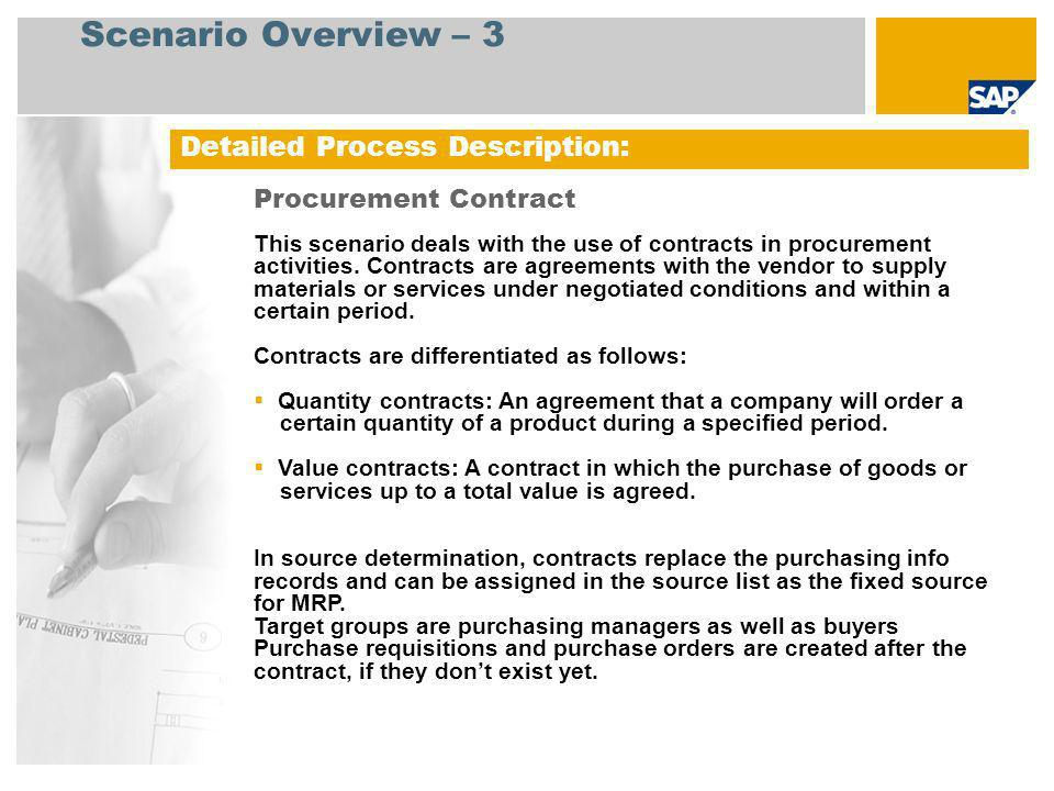 Scenario Overview – 3 Detailed Process Description: Procurement Contract This scenario deals with the use of contracts in procurement activities. Cont