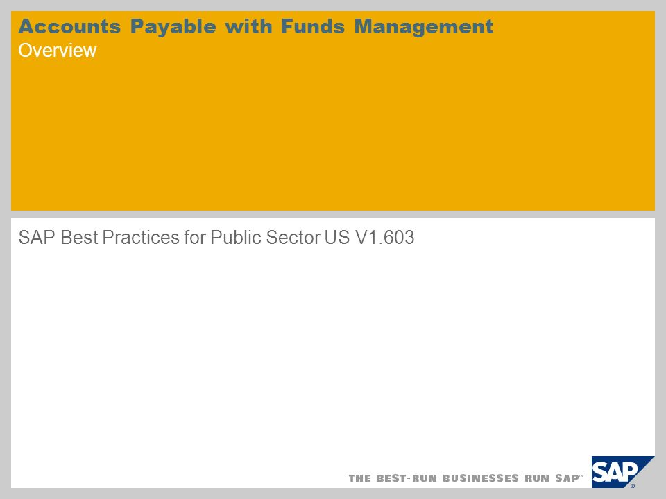 Accounts Payable with Funds Management Overview SAP Best Practices for Public Sector US V1.603
