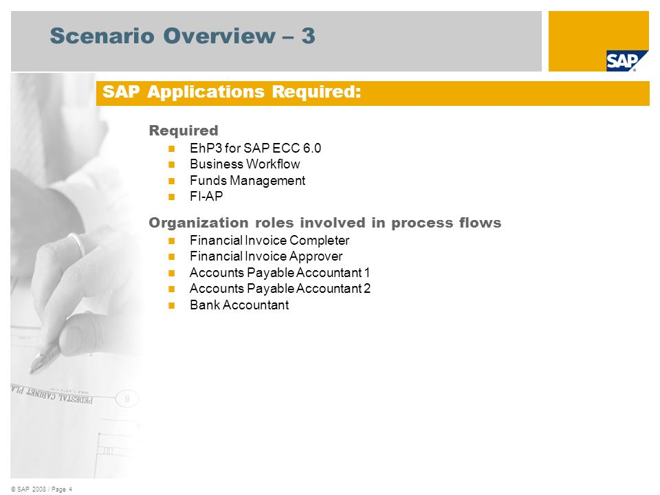 © SAP 2008 / Page 4 Scenario Overview – 3 Required EhP3 for SAP ECC 6.0 Business Workflow Funds Management FI-AP Organization roles involved in proces