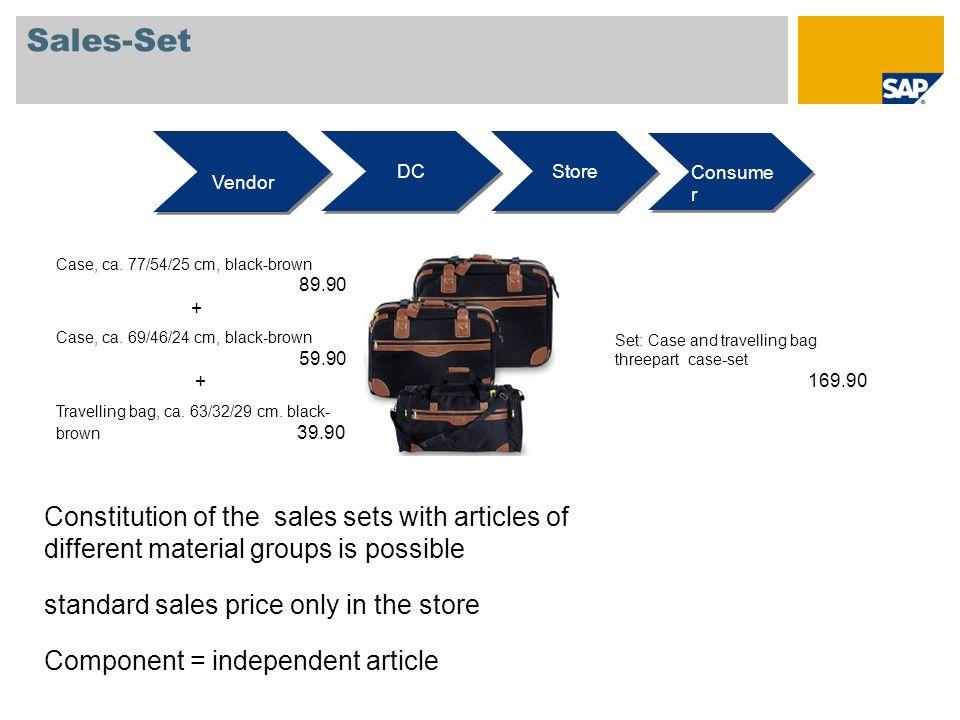 Sales-Set Vendor DC Store Consume r Case, ca. 77/54/25 cm, black-brown 89.90 + Case, ca. 69/46/24 cm, black-brown 59.90 + Travelling bag, ca. 63/32/29
