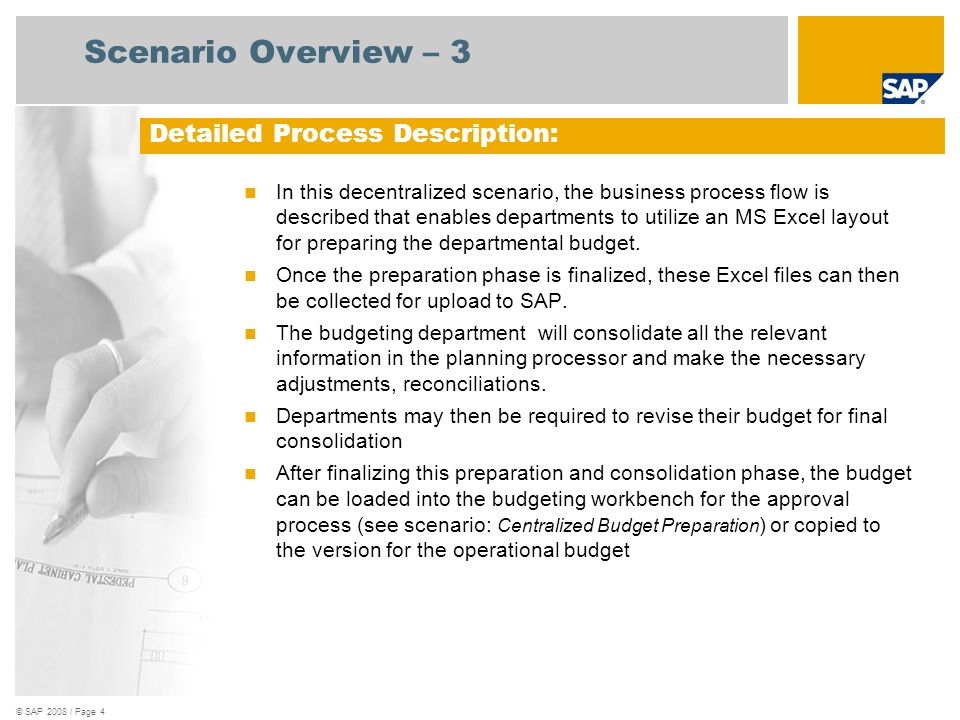 © SAP 2008 / Page 5 Decentralized Budget Preparation with Budget Planner
