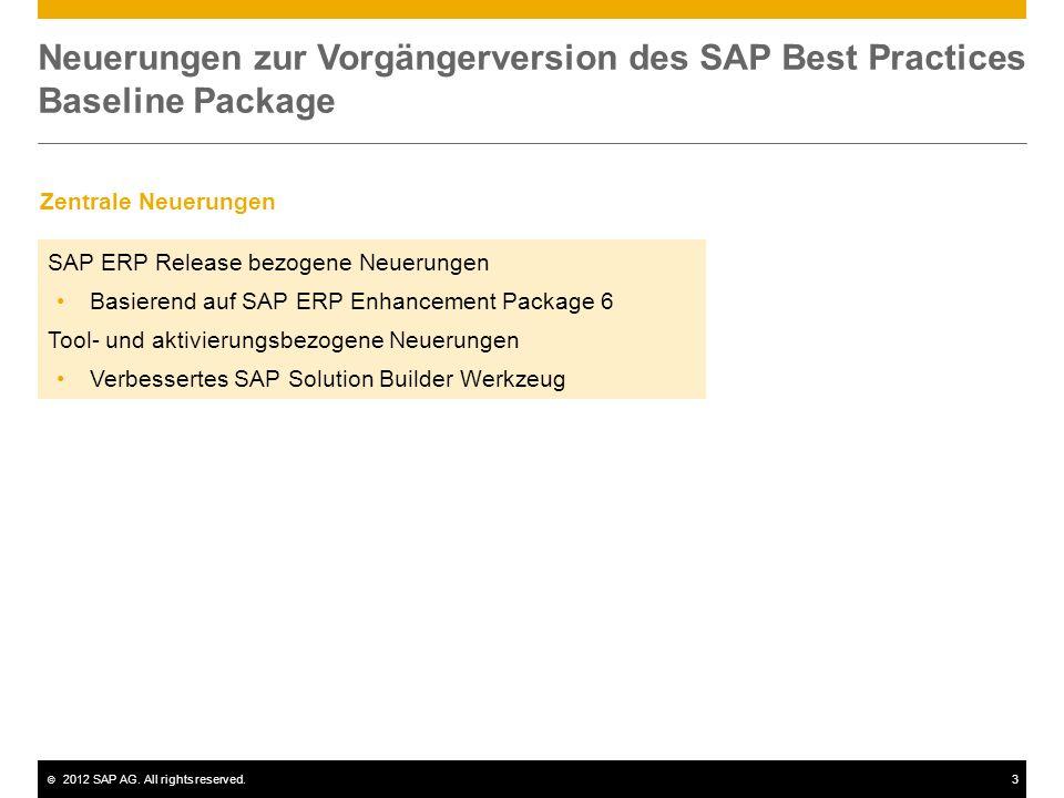 © 2012 SAP AG. All rights reserved.3 Neuerungen zur Vorgängerversion des SAP Best Practices Baseline Package SAP ERP Release bezogene Neuerungen Basie