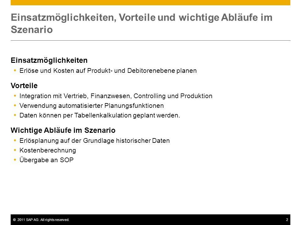 ©2011 SAP AG. All rights reserved.2 Einsatzmöglichkeiten, Vorteile und wichtige Abläufe im Szenario Einsatzmöglichkeiten Erlöse und Kosten auf Produkt