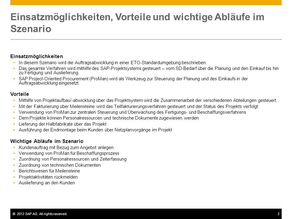 ©2012 SAP AG. All rights reserved.2 Einsatzmöglichkeiten, Vorteile und wichtige Abläufe im Szenario Einsatzmöglichkeiten In diesem Szenario wird die A