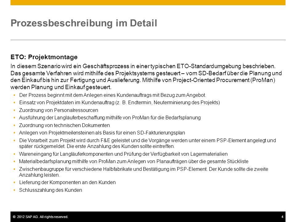 ©2012 SAP AG. All rights reserved.4 Prozessbeschreibung im Detail ETO: Projektmontage In diesem Szenario wird ein Geschäftsprozess in einer typischen